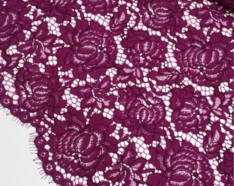 Violet Lace Fabric by the yard, French Lace, Embroidered lace Wedding Lace Bridal lace Evening dress lace Lingerie Lace Alencon Lace J305201