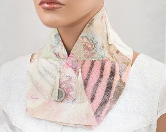 Nuno felted collar-felted scarf-felted embroidered cowl-Patchwork-wool-Pastel