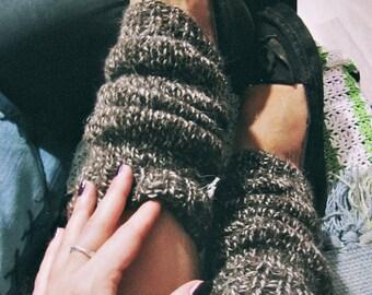 Organic Wool Leg Warmers - Hipster Boot Socks - Rustic Leg Warmers - Boho Hippie Leg Warmers - Made To Order