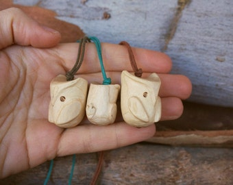 Wooden Owl pendant- eco handcarved wood