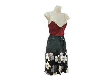 Denim skirt, grunge denim skirt, Black skirt, 90's denim skirt, Size 14 skirt,    # 228