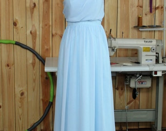 2016 Chiffon Bridesmaid Dress, Light Blue Chiffon Evening Dress, Strapless Prom Dress, Wedding Party Dress Floor Length