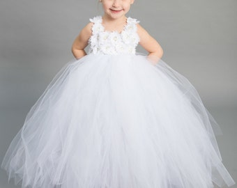 Flower girl dress - Tulle flower girl dress - White Dress - Tulle dress-Infant/Toddler - Pageant dress - Princess dress - White flower dress