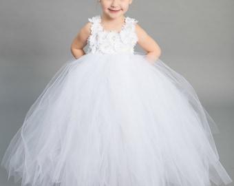 Flower girl dress - Tulle flower girl dress - White Dress - Tulle dress-Infant/Toddler - Pageant dress - Princess dress - White flower dress