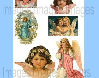 Printable Angel Clipart Vintage Angel Digital Images Instant Download 100+ Image Set Commercial and Personal Use Holiday Card Making Supply