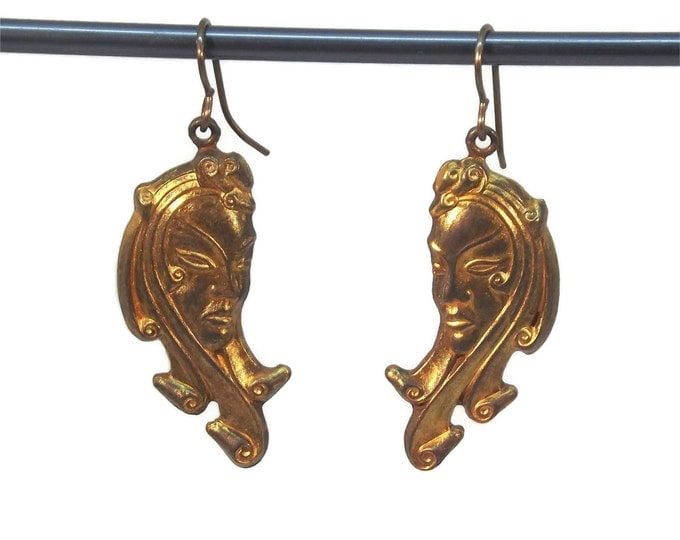 Hand Painted Gold Exotic Lady Face Dangle Drop Earrings Nickle Free