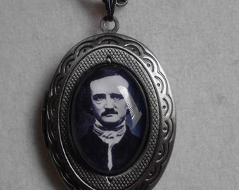 Edgar Allan Poe inspired locket necklace
