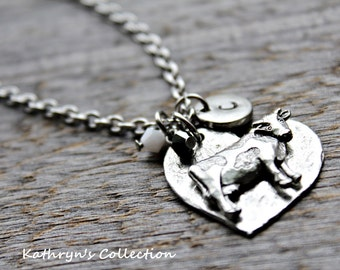 Cow Necklace, Cow Jewelry, Cow Gift, On the Farm