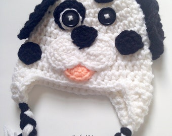 PATTERN** Crochet Dalmatian hat, All Sizes, Newborn to Adult