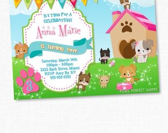 Puppy Birthday Invitation, Puppy Birthday Party, Puppies Invitation, Puppies Birthday Invitation, Cute Puppies, Girls Birthday Invitations