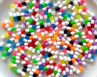 Tiny Pills Capsules Plastic Resin Beads Cabochons - 12mm - Decoden - DIY - Scrapbooking - Faux Pills - Colorful Pills