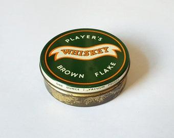 Vintage Player's Whiskey Flake pipe tobacco tin - brown flake, small tin, metal tin, tobacciana, green tin, old tin.