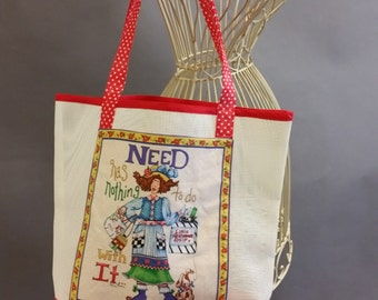 Mesh Tote. 'Need Has Nothing To Do With It' Red and White Bag with Shoulder Straps. Project, Market or Beach Bag. From MDS Creative.