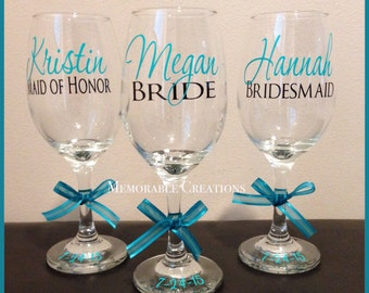 Personalized Wedding Wine Glasses for Bride and Bridesmaids, Bridal Party