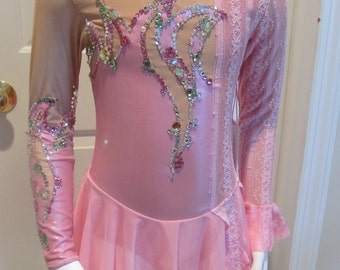 "Pink Figure Skating Competition Dress ""Allegretto"" Girls Size 10"