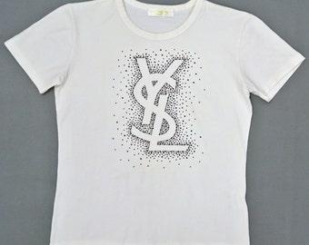 Items similar to men ysl t shirt black v neck with white for Ysl logo tee shirt