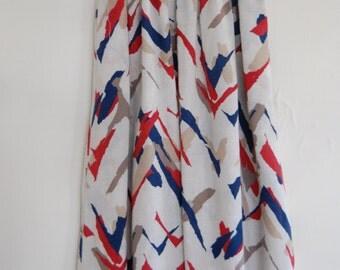 Vintage 80s Abstract Chevron Midi Skirt w/ Pockets