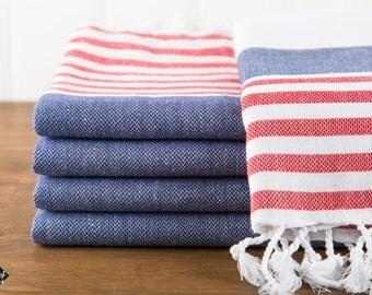 S A L E, Nautical Turkish Towel, Navy and Red, Peshtemal, Beach Towel, Hammam Towel
