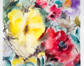 Original Watercolor Painting, Abstract Floral Watercolour Painting Art, Red Yellow Green