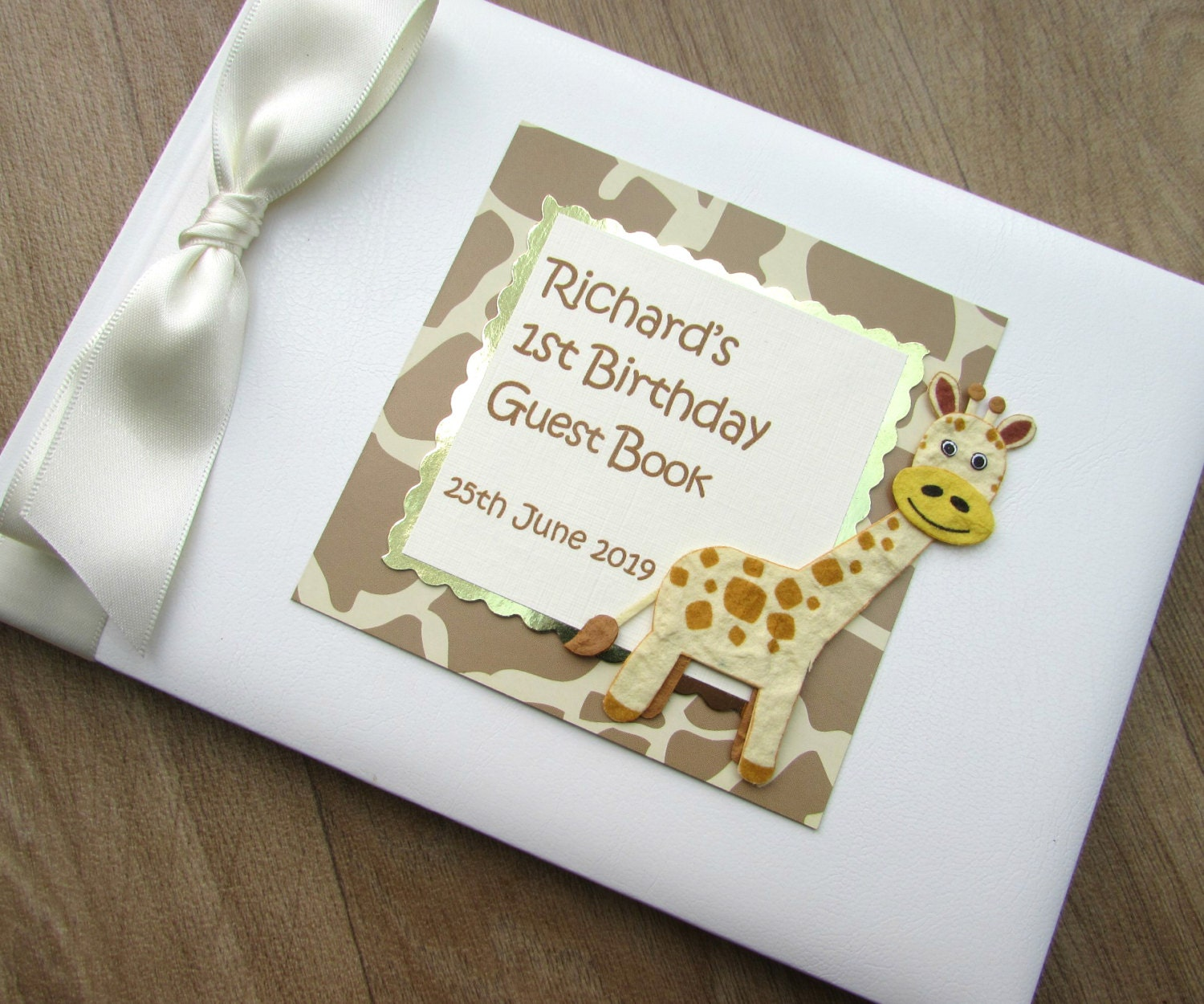 Childrens 1st 2nd 3rd Birthday Guest Book Personalised Safari