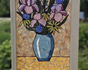 Floral Stained Glass Mosaic Window - Stained Glass Panel Vase of Flowers - Still life Mosaic Home Decor - Purple irises - Black Eyed Susans