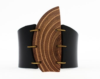Abstract leather cuff bracelet, unique cuff bracelet, wood cuff, wooden jewelry