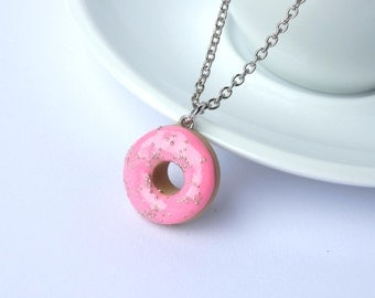Miniature cute baby pink icing donut with sprinkles charm necklace pendant kawaii sweet silly food jewelry