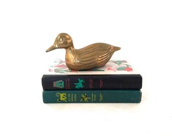 Vintage Brass Duck Sculpture - Mid Century Brass Duck - Brass Duck Figurine - Hunting Decor - Brass Taxidermy - Gold Duck