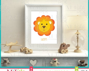 Nursery Wall Art, Zoo Animals Wall Art, Lion Wall Art, Printable Wall Art, Instant Download