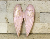 Cast Iron Angel Wings - Angel Wings Wall Decor - Shabby Gold Pink Angel Wings - Metal Wings - Pink Nursery Decor  Painted Wings Wall Hanging