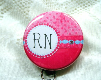 pink polka dots on retractable id badge holder for nurse,great gift for co-worker,id badge reel with a tiny bit of bling,nurse id clip