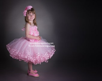 Pink Tutu Flower Girl Dress, Girls Tutu Dress, Pink Tutu Dress, Flower Girl Tutu Dress, Pink Ribbon Trim Tutu Dress, Pink Couture Tutu Dress