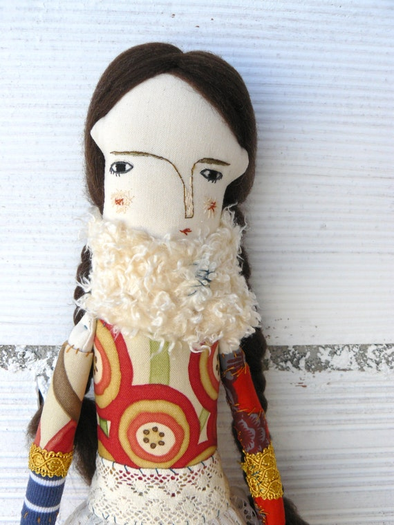 Raviola art doll with pure wool hair. 40 cm