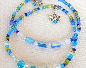 Blue Butterfly Beaded Stretch Ankle Bracelet, Anklet, Butterfly, Beaded Anklet, Blue Beaded Anklet, Seed Bead Stretch Anklet