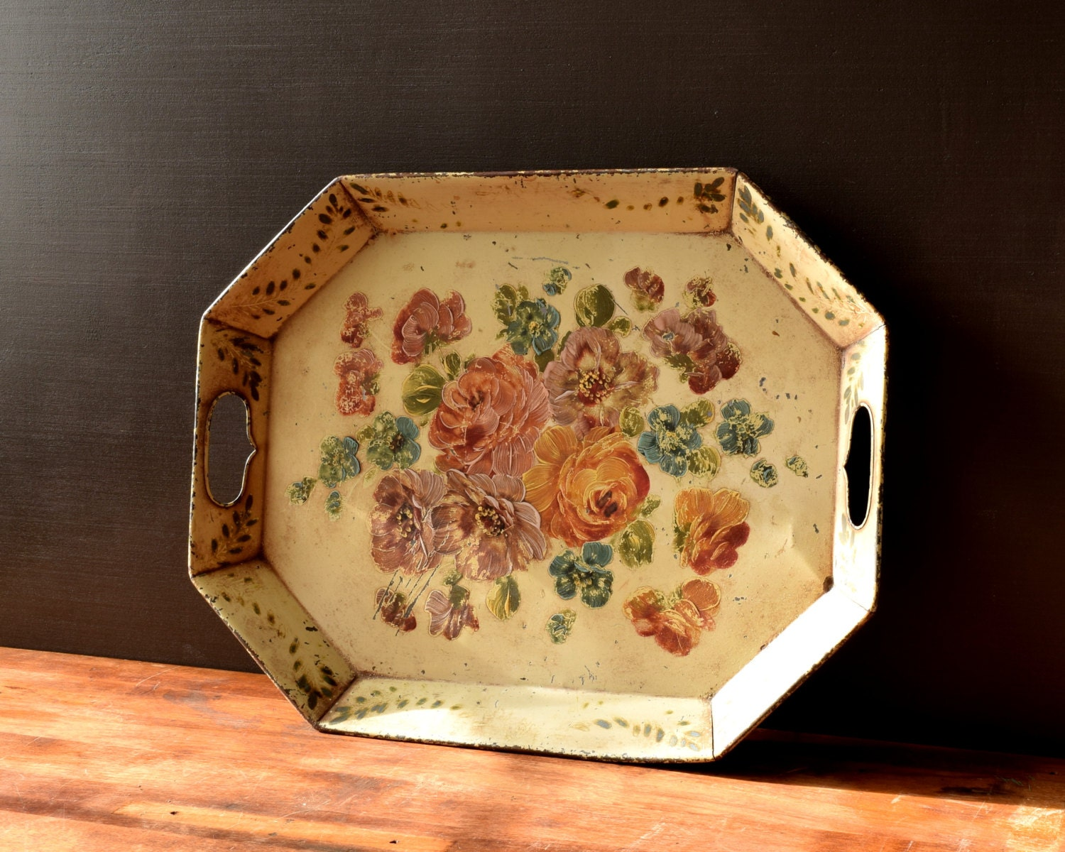 Large Decorative Tole Serving Tray Ottoman Or Coffee Table