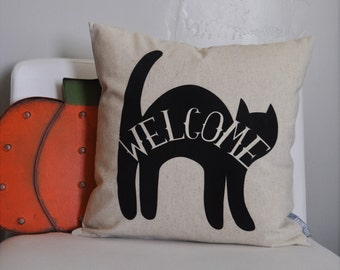 SALE, Halloween pillow, Black cat, Happy Halloween, Halloween Decor, Fall pillow,halloween, Welcome pillow