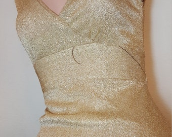 FREE  SHIPPING   Gold Metallic Lurex Maxi Dress