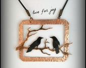 Two crows, two for joy, two birds, crow pendant, crow necklace, raven pendant, crow jewelry, raven jewelry, rook jewelry, BC artist