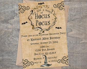 Hocus Pocus Witch Halloween Party Invitation | Sanderson Sisters Goth Bat Watercolor Child Kid Adult Family Birthday Costume 30th Birthday
