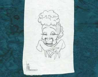 Lucille Ball original pencil drawing by Disney Artist Dave Woodman