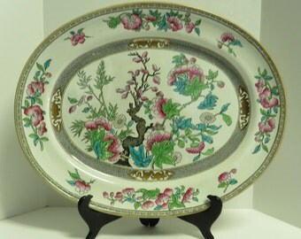 Vintage Stamped England, MINTON Hand Painted Multi colored Oval Serving Platter.