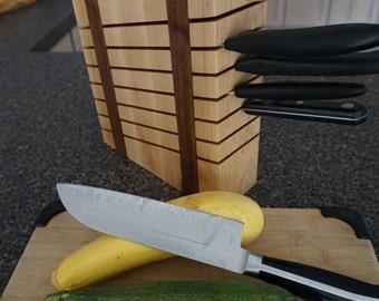 Maple and Walnut Knife Block