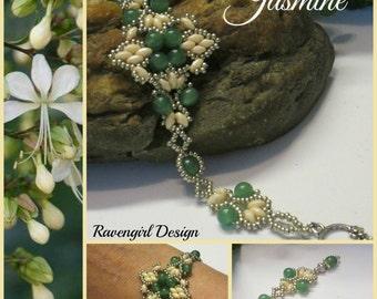 JASMINE Beaded Superduo Bracelet, Aventurine Stones, Green, Cream, Czech, Boho Vintage Victorian Style Handmade Jewelry Ravengirl Design