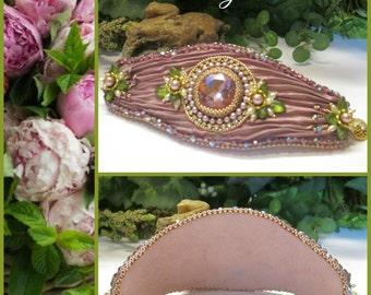 PEONY ROSE Bead Embroidered Shibori Cuff, Czech Crystals Rhinestones Glass Pearls, Boho Vintage Victorian Style Handmade, Ravengirl Design