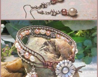 BLUSH DAISY Beaded Leather Wrap Bracelet, 3 Row, Leather and Pearls, Boho Vintage Style Handmade Jewelry, Ravengirl Design