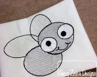 Fly 1 Sketch Embroidery Design - bug Sketch Embroidery Design
