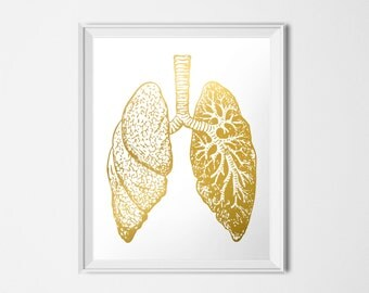 Gold Lungs Print, Human Lung, Medical Printable, Anatomy Printable, Gold Print, INSTANT DOWNLOAD, Printable Art, 16x20 Poster, Weird Art