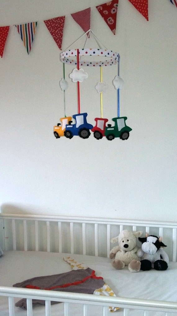 Tractor Mobile For Cribs : Tractor baby mobile hanging farm nursery decor