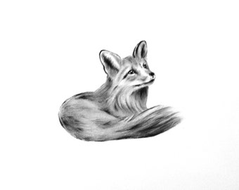 "Fox Art, ORIGINAL Charcoal Drawing, Animal Sketch, Nursery Art 5""×7"", Baby Fox Drawing, Fox Sketch"