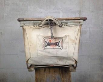 Vintage Industrial Cart Old Dandux Shipping Cart 1940s Canvas Cart Dandux Laundry Cart White Canvas  Industrial Cart